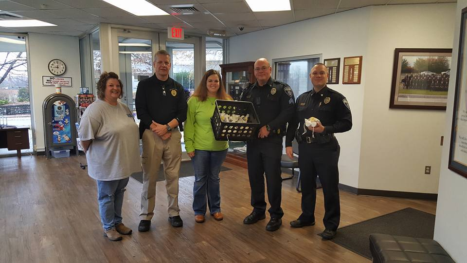 Taking gifts to Mount Airy Police
